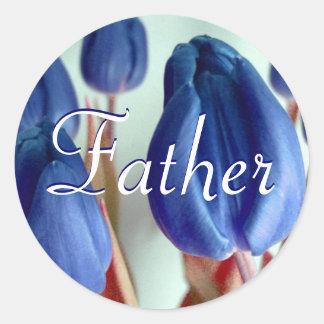 Autocollant de tulipes bleues de père