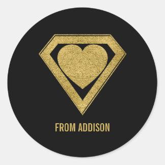 Autocollant de Valentine d'ami de super héros d'or