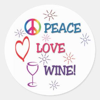 Autocollant de vin d'amour de paix