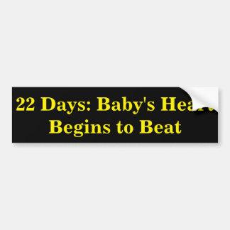 Autocollant De Voiture 22 jours : Le coeur du bébé commence à battre