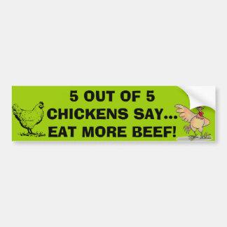 Autocollant De Voiture 5 sur 5 poulets dites l'adhésif pour pare-chocs
