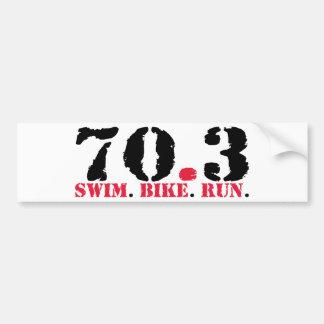 Autocollant De Voiture 70,3 Course de vélo de bain