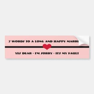 Autocollant De Voiture 7 mots à un long et heureux mariage