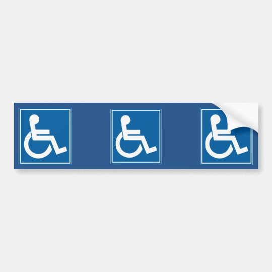 autocollant de voiture adh sif pour pare chocs bleu de signe d 39 handicap. Black Bedroom Furniture Sets. Home Design Ideas