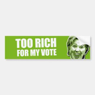 Autocollant De Voiture Adhésif pour pare-chocs trop riche de Hillary