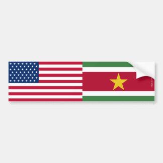Autocollant De Voiture Américain et Surinamien marque l'adhésif pour