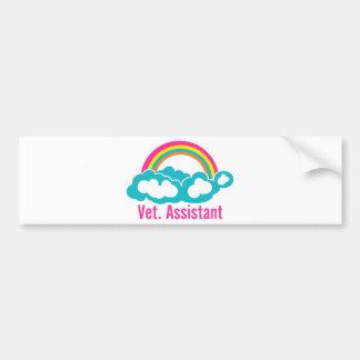 Autocollant De Voiture Assistant de vétérinaire d'arc-en-ciel