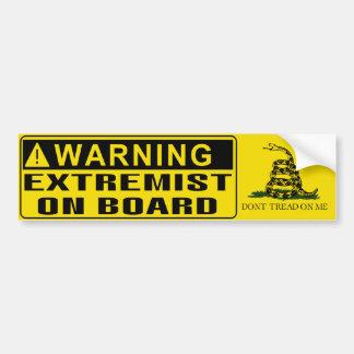 Autocollant De Voiture AVERTISSEMENT - drapeau de Gadsden d'extrémiste à