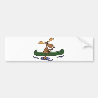 Autocollant De Voiture Bande dessinée drôle de canoë-kayak d'orignaux