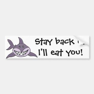 Autocollant De Voiture Bande dessinée grise de grimacerie drôle de requin