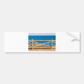 Autocollant De Voiture Barrière en bois à la côte avec sea.JPG bleu