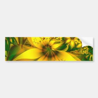 Autocollant De Voiture Beau pré vert jaunâtre des fleurs de jonquille