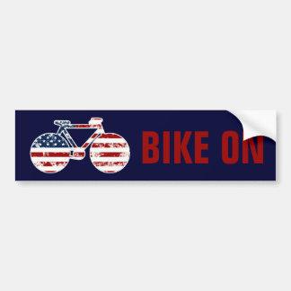 Autocollant De Voiture bicyclette patriotique des Etats-Unis d'Amérique