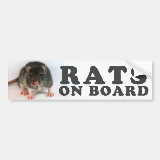 Autocollant De Voiture (Black) Rats on board