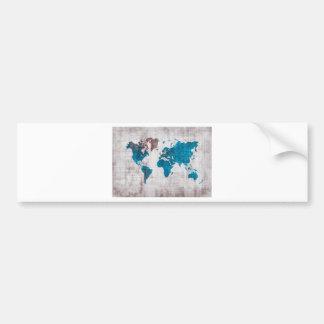 Autocollant De Voiture bleu blanc de carte du monde