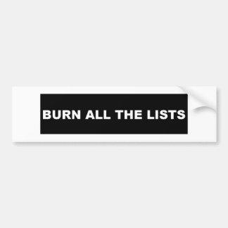 Autocollant De Voiture Brûlez tout le noir de listes