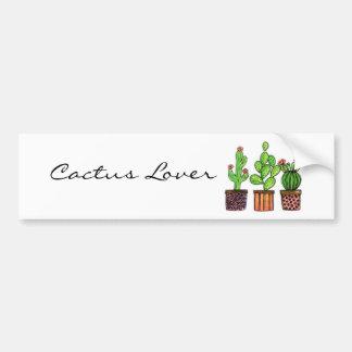 Autocollant De Voiture Cactus mignon d'aquarelle dans des pots