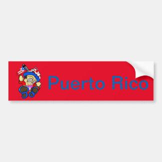 Autocollant De Voiture Caractère mignon de Porto Rico avec le drapeau