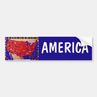 Autocollant De Voiture Carte antique vintage Etats-Unis d'Amérique,
