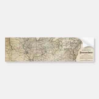 Autocollant De Voiture Carte du chemin de fer de la Pennsylvanie (1871)