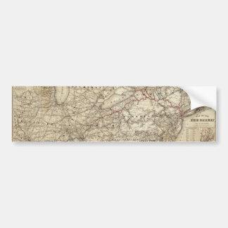 Autocollant De Voiture Carte du chemin de fer d'Erie (1869)