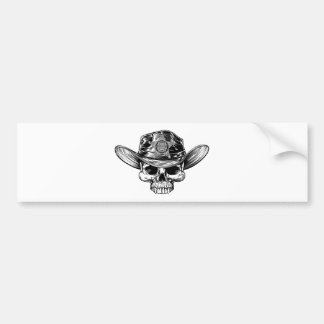 Autocollant De Voiture Casquette de cowboy de crâne d'insigne d'étoile de