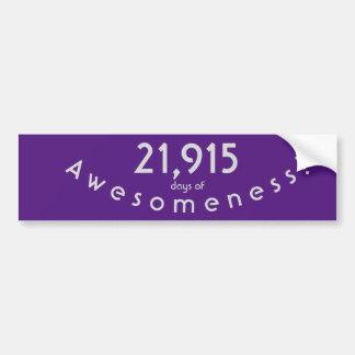 Autocollant De Voiture Célébration de 21.915 jours d'anniversaire