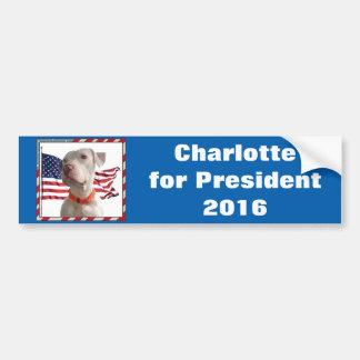 Autocollant De Voiture Charlotte pour le président 2016