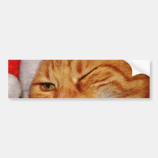 Autocollant De Voiture Chat orange - chat du père noël - Joyeux Noël