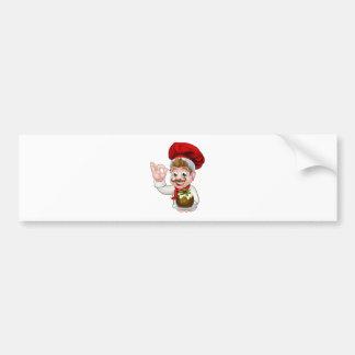 Autocollant De Voiture Chef dans le casquette de Noël tenant le pudding