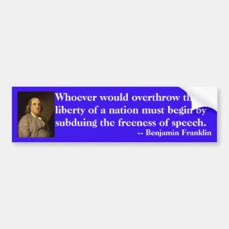 Autocollant De Voiture Citation de Benjamin Franklin sur la liberté de