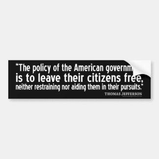 Autocollant De Voiture Citation de Jefferson : La politique du