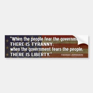 Autocollant De Voiture Citation de Jefferson : Liberté contre la tyrannie