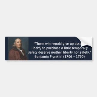 Autocollant De Voiture Citation de liberté de Ben Franklin
