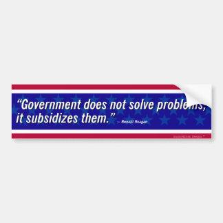 Autocollant De Voiture Citation de Reagan - le gouvernement ne résout pas
