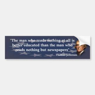 Autocollant De Voiture Citation de Thomas Jefferson au sujet des journaux