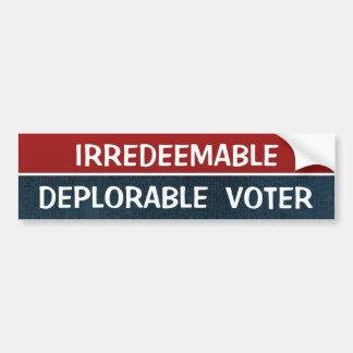 Autocollant De Voiture Citation drôle de Hillary d'électeur déplorable