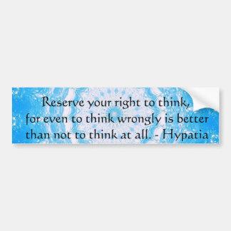 Autocollant De Voiture Citation inspirée de motivation de Hypatia