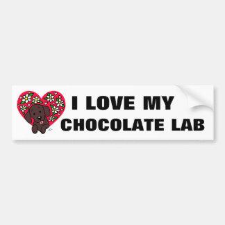 Autocollant De Voiture Coeur floral de maman de Labrador de chocolat