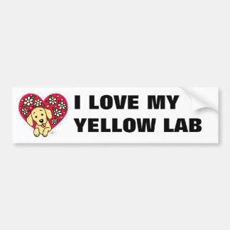 Autocollant De Voiture Coeur floral de maman jaune de Labrador