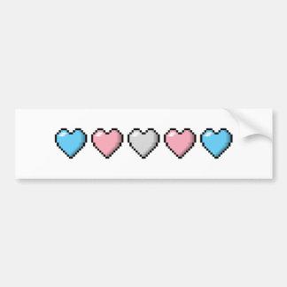 Autocollant De Voiture Coeurs de pixel de transsexuel