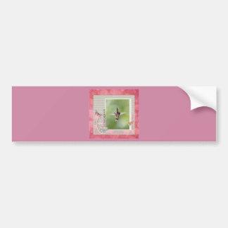 Autocollant De Voiture Colibri extraordinaire de vol, rose, cadre gris
