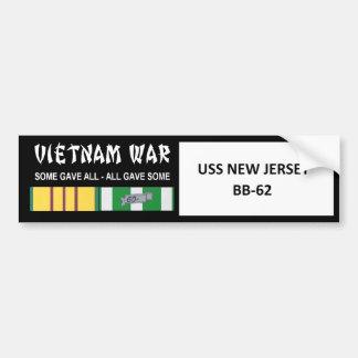 AUTOCOLLANT DE VOITURE COMBATTANT DE VIETNAM DE NEW JERSEY D'USS