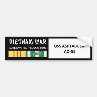 AUTOCOLLANT DE VOITURE COMBATTANT D'USS ASHTABULA VIETNAM