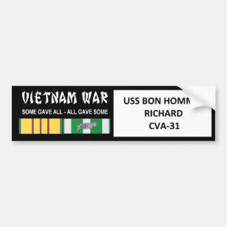 AUTOCOLLANT DE VOITURE COMBATTANT D'USS BON HOMME RICHARD VIETNAM
