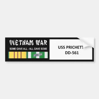 AUTOCOLLANT DE VOITURE COMBATTANT D'USS PRICHETT VIETNAM