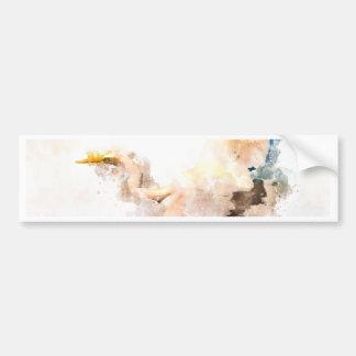 Autocollant De Voiture Conception d'aquarelle, vol d'oiseau de grue