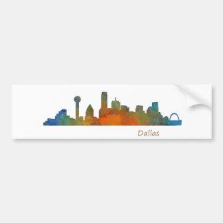Autocollant De Voiture Dallas Texas Ville Watercolor Skyline Hq v1