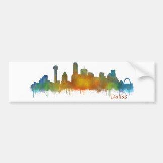 Autocollant De Voiture Dallas Texas Ville Watercolor Skyline Hq v2