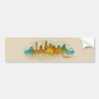Autocollant De Voiture Dallas Texas Ville Watercolor Skyline Hq v3